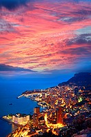 Aerial view of Monte Carlo, Monaco, Europe.