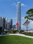 CENTRAL HONG KONG Tamar park IFC 2 tower Chinese flag and Hong.