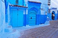 Old Medina, Chefchaouen, Xaouen, Street scene in the Blue Medina, Rif region, Morocco, North Africa.