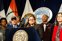 New York City Council Speaker Melissa Mark-Viverto and members of the New York City Council express their support for the NYPD in the wake of the poli...