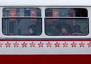 People On A Bus In Pyongyang, North Korea