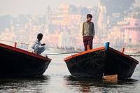 The boatmen that row the boats along the ghats of Varanasi.