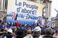 Marine Le Pen, leader of the far right National Front political party, speaks to supporters during the party´s traditional May Day rally in Paris, Fra...