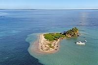 aerial view of Caret Islet, Grand Cul-de-sac Marin, off the coast of Sainte-Rose, Basse-Terre, Guadeloupe, overseas region of France, Leewards Islands...