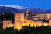 Alhambra in the Evening, Granada, Andalusia, Spain.
