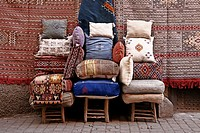 Cushions and carpets, Marrakech, Morocco