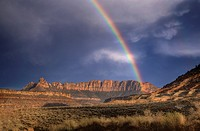 A rainbow appears at Zion National Park, Utah.