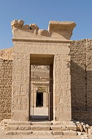 UNESCO World Heritage, Thebes in Egypt, ptolemaic temple of Deir el Medineh. First gate.
