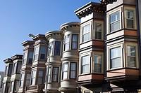 Rows of bay windows along Stockton Street in North Beach - San Francisco, San Francisco County, California, USA.