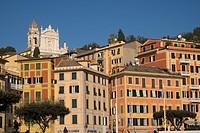 Buildings on the sea front and San Giacomo church in the background, Santa Margherita Ligure, Genova, Liguria, Italy, Europe.