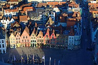 Brugge Market Square Guild Houses From Belfort Tower, Belgium.