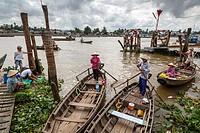 Boats outside Can Tho Market, Mekong Delta, Vietnam.