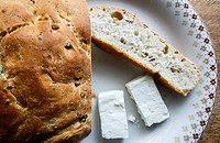 Greek Cuisine. Tradirional Olive Bread Eliopsomo with Feta Cheese.