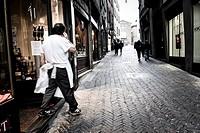Street in Bergamo upper city, Italy