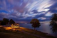 A view of a gazebo in MacDonald Park along the shore of Lake Ontario. Kingston, Ontario, Canada.