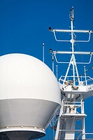 satellite communications dishes protected from the elements on board ship