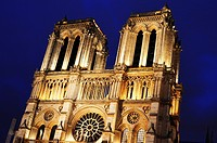 Notre-Dame Cathedral in Paris, France after sunset.