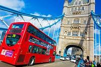 Tower Bridge and traffic. London, United Kingdom, Europe.