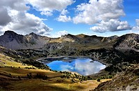 Mountain lake Lac d`Allos, panorama view, Alpes-de-Haute-Provence, French Alps, France.