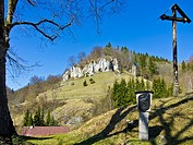 View of limestone rocks from a station of a Way of the Cross in the village of Hutten, Swabian Alb, Germany.