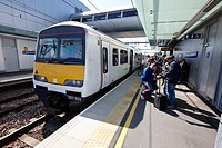 train arriving at london Southend Airport train station Essex UK.