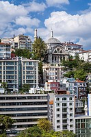 A view of the Cihangir hillside overlooking the Bosphorus in Istanbul, Turkey, Eurasia.
