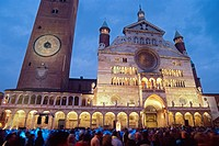 Italy, Lombardy, Cremona, the Duomo and the Torrazzo during Torrone Feast.