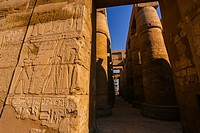 Karnak - Hypostyle Hall in Amun-Re Temple, complex of temples at Karnak, Upper Egypt