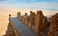 Lower terrace in the North Palace of King Herod, Masada National Park, Masada, Dead Sea, Judean Desert, Israel.
