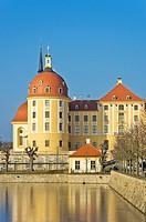 Schloss Moritzburg Castle near Dresden, Saxony, Germany, exterior view in winter.