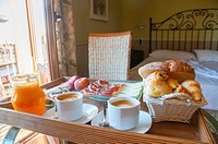 Breakfast in a rural hotel. Rascafria, Madrid province, Spain.