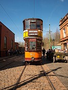 A vintage tram at the National Tramway Museum, Crich, Derbyshire, UK.