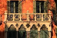 Balcony and windows detail of a modernist building. Barcelona, Catalonia, Spain.