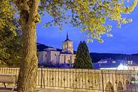 Pilgrim´s bridge and church of San Nicolás de Bari in Molinaseca, Way of St. James, Leon, Spain.
