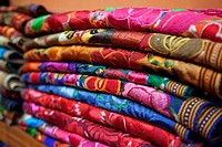 Colorful blankets for sale inside of a shop, Merida, Yucatan Province, Mexico, Central America.