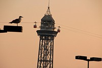 Barcelona cable car in the sunset, Maremagnum area, Port Vell, Barcelona, Catalonia, Spain
