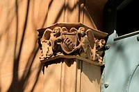 Ave, decorative religious element on the building at street Girona, Barcelona, Catalonia, Spain