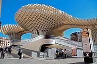 Tourists enjoying Metropol Parasol building, Seville, Spain.