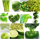 green healthy food collage collection nested on white frame.