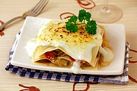 Lasagna with vegetables and monkfish.