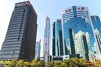 Shenzhen, China - August 19,2015: Shenzhen skyline as seen from the Stock Exchange building with the Ping An IFC, the tallest building of the city, on...
