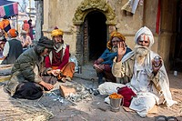 Nepal, Pashupatinath. Hindu Sadhus (Ascetics) Enjoying One Another´s Company.