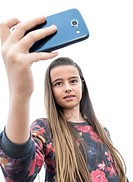 Young girl making selfie, Valencia, Spain