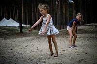 Female dancers performing in nature, Ukrainian scout training camp, Kiev region, Ukraine.
