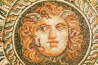Egypt, Alexandria, National Museum, detail of a mosaic representing a Medusa mask, 2nd century AD, found during excavations of the Diana theater.