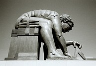 Eduardo Paolozzi sculpture of Sir Isaac Newton in the British Library in London in England in Great Britain in the United Kingdom UK Europe.