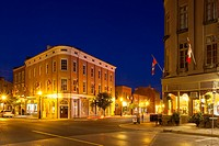 Corner of Queen and Walton Streets in downtown Port Hope at dusk. Ontario, Canada.