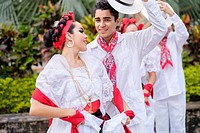 Young people in folkloristic costumes - Puerto Vallarta, Jalisco, Mexico. Xiutla Dancers - a folkloristic Mexican dance group in traditional costumes ...
