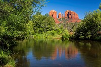 Cathedral Rocks reflected in Oak Creek near Sedona, Arizona, USA.