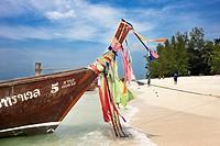 Longtail boats at the beach on Poda Island (Koh Poda). Krabi Province, Thailand.